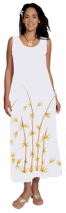Womens White Long Dress With Hand Painted Bamboo Design Lined