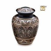 Black & Gold Solid Brass Urn