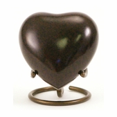 Brown Granite Brass Heart Keepsake
