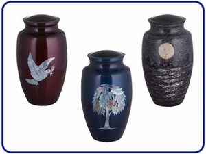 Decorated Solid Brass Urns