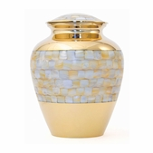 Elite Mother of Pearl Solid Brass Urn