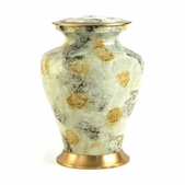White Marble Metal Alloy Urn