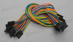 10pcs 30cm shield jumper cables 4pin Female to 4pin Female(4pin F/F) 24AWG (Assorted Color)
