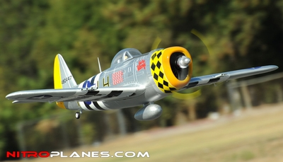 2.4G Extreme Detail 5-CH Version 2 AirField RC P-47 1400MM Warbird Plane w/ Brushless Motor/ESC/Lipo 100% RTF *Super Scale* EPO Foam Plane + Electric Retracts (Silver) RC Remote Control Radio