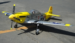 "2.4G Extreme Detail 5-Channel AirField RC P-51 1450MM (57"") Radio Control Warbird Plane w/ Brushless Motor/ESC/Lipo 100% RTF *Super Scale* EPO Foam Plane + Electric Retracts + Retractable Tail Wheel (Yellow) RC Remote Control Radio"