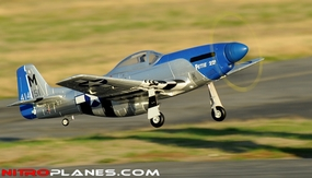 "2.4G Extreme Detail 5-Channel AirField RC P-51 Marie 1450MM (57"") Radio Control Warbird Plane w/ Brushless Motor/ESC/Lipo 100% RTF *Super Scale* EPO Foam Plane + Electric Retracts (Blue) Version 2 RC Remote Control Radio 93A51-P51-Blue-RTF-24G-eRetract"