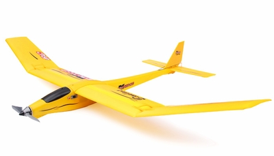 3-Channel Slope Diver EP RTF Radio Remote Controlled RC Airplane RTF Folded Wing Version ( Yellow) 3380-4Y_AccipiterBadiusYellow-Fold