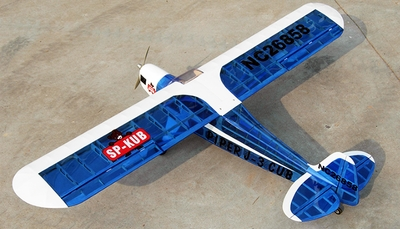 "4CH New J3 Piper Cub .60 - 71"" Nitro Gas Radio Controlled Airplane ARF Kit (Transparent Blue) RC Remote Control Radio"