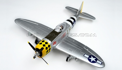 6-CH Airfield RC 1400mm P-47 Warbird Plane w/Brushless Motor+ESC+Electric Retracts+Flap ARF (Silver) RC Remote Control Radio