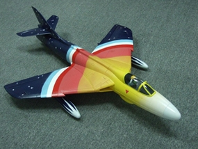 68mm Electric Ducted Fan Hawker Hunter EPO Aircraft Body + Metal Base Retracts w/ Pilot (Rainbow color )
