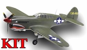 AirField 1400mm 6-Ch P40 (Green) Radio Control Warbird Plane Kit (No Electronics) w/ Fix Landing Gear RC Remote Control Radio