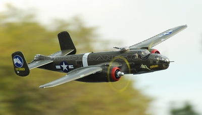 Airfield 1470mm 5 Channel B-25 Bomber Twin Brushless Power Extreme Detail RC Radio Control WarBird Airplane ARF Receiver Ready w/ Electric Retract RC Remote Control Radio