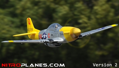 """Airfield 2.4Ghz P-51 1450mm 57"""" 5-CH Warbird RC Plane w/Electric Retracts V2 RTF (Yellow) RC Remote Control Radio 93A51-51-Yellow-RTF-24G-Eretract"""