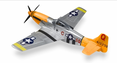 """Airfield 2.4Ghz P-51 1450mm 57"""" 5-CH Warbird RC Plane w/Electric Retracts V2 RTF (Yellow) - NO LIPO Battery"""