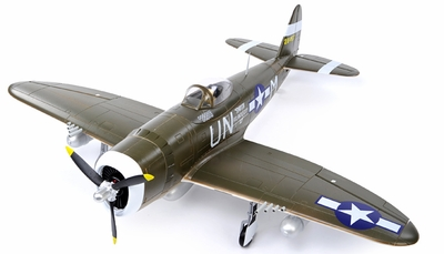 Airfield 5Ch 2.4Ghz P-47 1400mm Brushless Warbird RC Plane w/Electric Retracts RTF (Green) RC Remote Control Radio