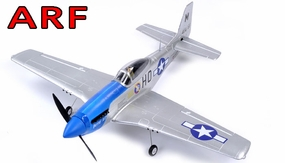 "AirField 800mm (31.5"") Electric P51 Mustang RC Warbird Plane w/ Brushless+ESC ARF Receiver-Ready (Blue) RC Remote Control Radio"