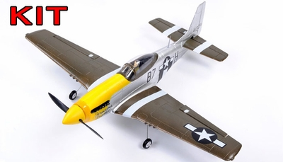 "AirField 800mm (31.5"") P51 Mustang RC Warbird Airframe Kit (Yellow) RC Remote Control Radio"