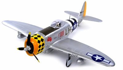 AirField RC 1400MM 5-Ch P-47 RC Warbird Plane Kit Airframe w/ Electric Retracts (Silver) RC Remote Control Radio