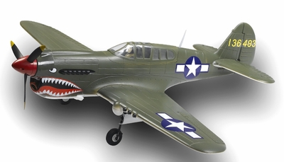 AirField RC 5-Ch P-40  RC Warbird Plane Kit Airframe w/ Electric Retracts (Green) RC Remote Control Radio