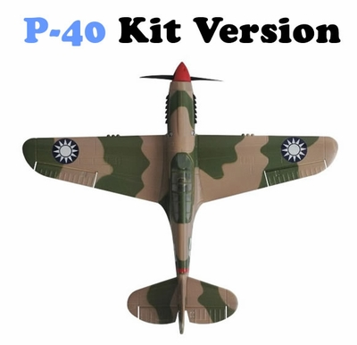 AirField RC P-40 Tiger RC Warbird Plane Kit Version 2 w/ Rudder Setup