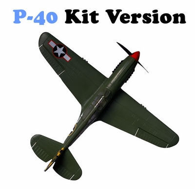 AirField RC P-40 Warhawk RC Warbird Plane Kit New Version 2 w/ Rudder!