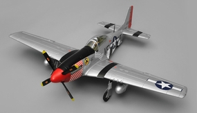 Airfield RC Plane 6-Channel P51 Mustang Warbird 1150mm Wingspan Almost Ready to Fly Warbird (Red) RC Remote Control Radio