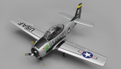 Airfield RC Plane  6 Channel T28 Trojan 1450MM 6 Channel Warbird Ready to Fly 2.4Ghz (Silver) RC Remote Control Radio