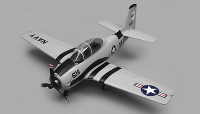 Airfield RC T28 Trojan 1450MM Wingspan 6 Channel Warbird Airplane Almost Ready to Fly (Grey) RC Remote Control Radio