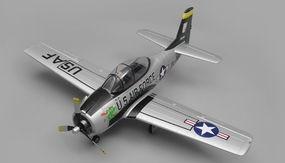 Airfield RC T28 Trojan 1450MM Wingspan 6 Channel Warbird Airplane Kit (Silver) RC Remote Control Radio