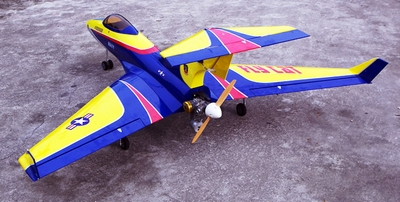 "Blue Flying Cat 90 - 60"" ARF R/C Pusher Jet - A  led Airplane RC Remote Control Radio"