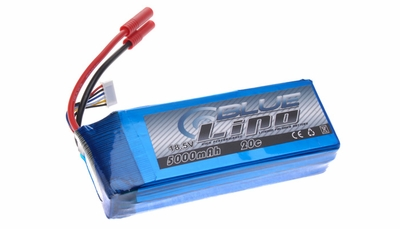 Blue Lipo 5-Cell 5000mAh 18.5v 5S1P 20C RC Battery