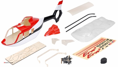 EC135 450? Pre-Painted Glass Fiber Fuselage for 450 Size Helicopters Red/Black/White 67P-450-EC135-403-RedBlackWhite