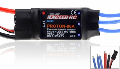 Exceed RC Proton/Volcano Series 80A Brushless Speed Controller ESC [Volcano Series] 07E08-Proton-80A