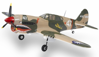 Extreme Detail 5-Channel AirField RC P-40 1400MM Radio Control Warbird Plane ARF Receiver-Ready w/ Brushless Motor/ESC *Super Scale* EPO Foam Plane + Electric Retracts (Tiger) RC Remote Control Radio