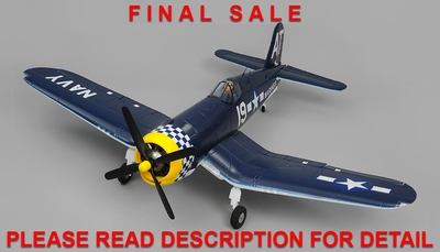 **FINAL SALE**Airfield RC F4U Corsair 1450mm Warbird Almost Ready to Fly 1450mm Wingspan(Blue) RC Remote Control Radio