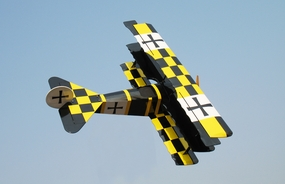 "Gas Fokker DR-1 - 45"" .90 Size Nitro Gas Engine  led RC Tri-Wing-Plane [Yellow/Black Version] RC Remote Control Radio"
