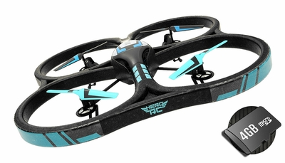 "Hero RC XQ-5 V626 UFO Drone with Camera 4 Channel 6 Axis Gyro Quadcopter Headless Mode 2.4ghz Ready to Fly w/4GB Memory Card & Extra Battery  - Large Giant Size 21.60"" Drone GoPro Camera Mountable"