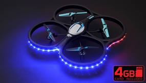 """Hero RC XQ-5 V626 UFO Drone with Camera and LED 4 Channel 6 Axis Gyro Headless Mode Quadcopter 2.4ghz Ready to Fly w/ 4GB Memory Card & Extra Battery - Large Giant Size 21.60"""" Drone GoPro Camera Mountable"""