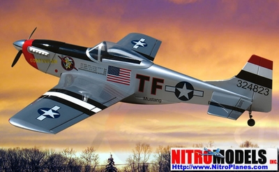 """Kimberly Kaye P-51D Mustang 40 - 58"""" Almost-Ready-To-Fly Nitro Gas   R/C Airplane w/ Retracts RC Remote Control Radio"""