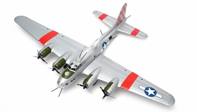 "NEW 7 Channel  AirWingRC B-17 Bomber 63"" Scale Electric RC Warbird ARF w/ Brushless Motor + ESC + Servos (Silver Red) RC Remote Control Radio"