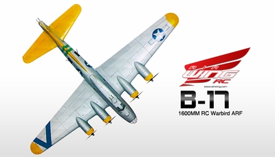 """NEW 7 Channel  AirWingRC B-17 Bomber 63"""" Scale Electric RC Warbird ARF w/ Brushless Motor + ESC + Servos (Silver Yellow) RC Remote Control Radio"""
