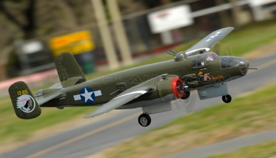 "NEW 7 Channel AirWingRC B25 Bomber 63"" Scale Electric RC Warbird ARF w/ Motor + ESC + Servos (Green) RC Remote Control Radio"