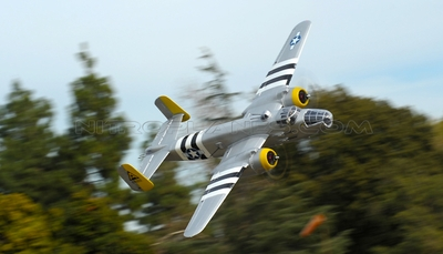 "NEW 7 Channel AirWingRC B25 bomber 63"" Scale Electric RC Warbird Kit (Silver) RC Remote Control Radio"