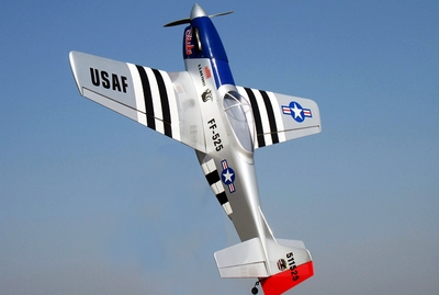 "Nitro Gas P-51 U.S. Air Force ""Stinky"" Mustang 46 - 57/5\ led Airplane Almost-Ready-to-Fly RC Remote Control Radio"