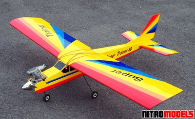 "NitroModels ARF Super Trainer 60 Yellow - 70""  led RC Airplane RC Remote Control Radio"