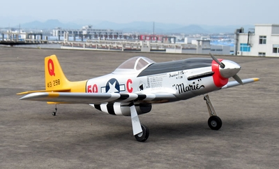 NitroModels P-51 Mustang 60 Nitro Gas Radio Controlled War Plane Kit w/ Retracts RC Remote Control Radio
