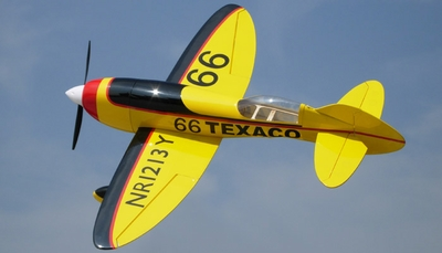Nitroplanes 4 Channel RC EP GeeBee Balsa Wood 1000 Wingspan Kit (Yellow) RC Remote Control Radio