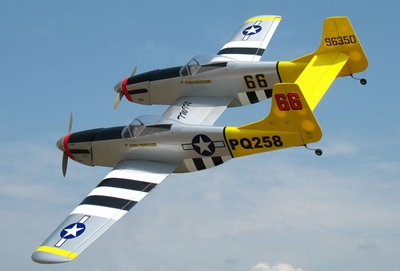"""P-82 Twin Mustang 40 - 70.5"""" Nitro Gas  led RC Warbird Plane Almost-Ready-to-Fly <font color=blue>w/ Set of Retracts</font> RC Remote Control Radio"""