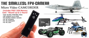 Smallest 18G FPV Micro Video Camera for RC Airplane, RC Helicopter, RC Car w/ FREE 2GB Memory Card 06P-MC-001-Mini-Gum-DVR-4GB