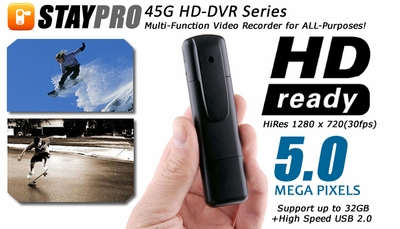 STAYPRO 45G HD-DVR 5-MegaPixel Micro FPV Video Recorder Spy Camera w/ HDMI 1280 x 720 30fps 06P-MC-008-HD-Mini-Gum-DVR